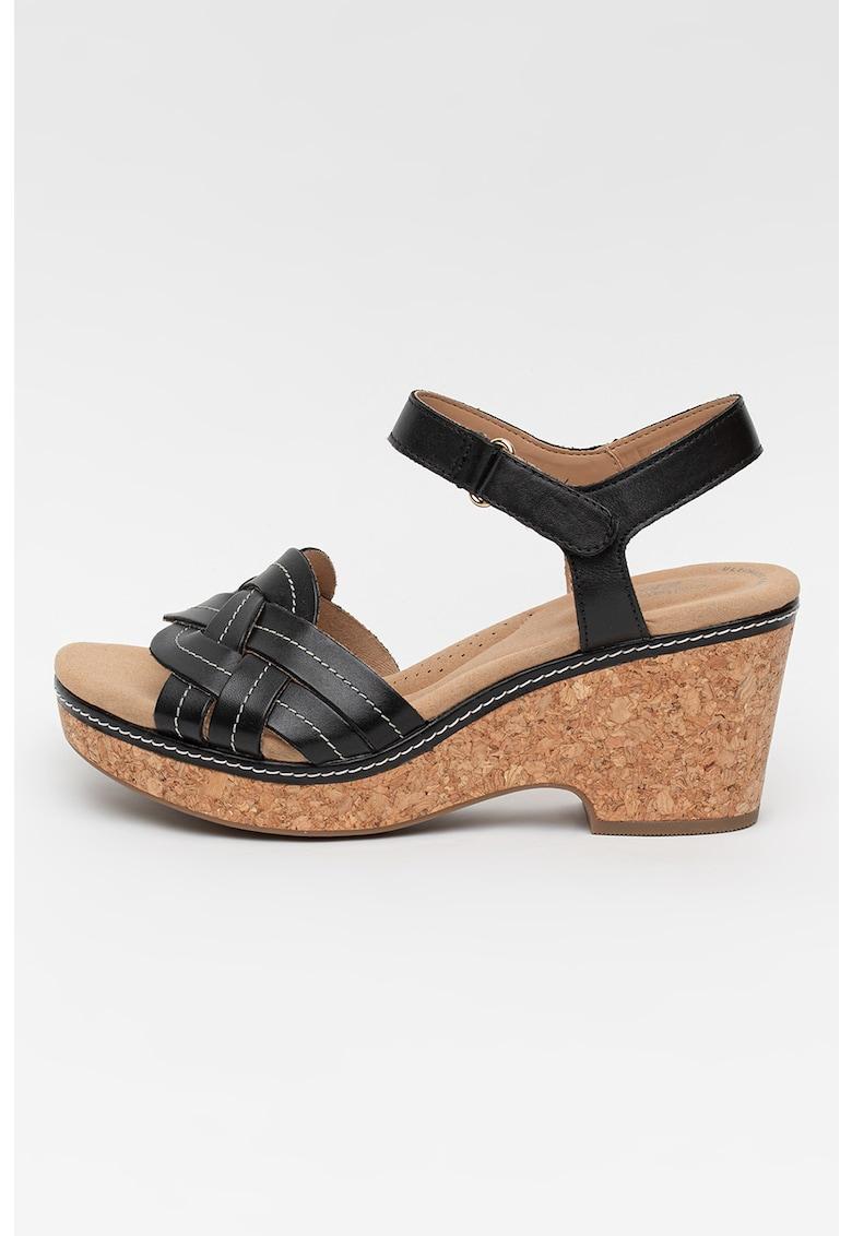 Sandale de piele cu aspect impletit Giselle Coast