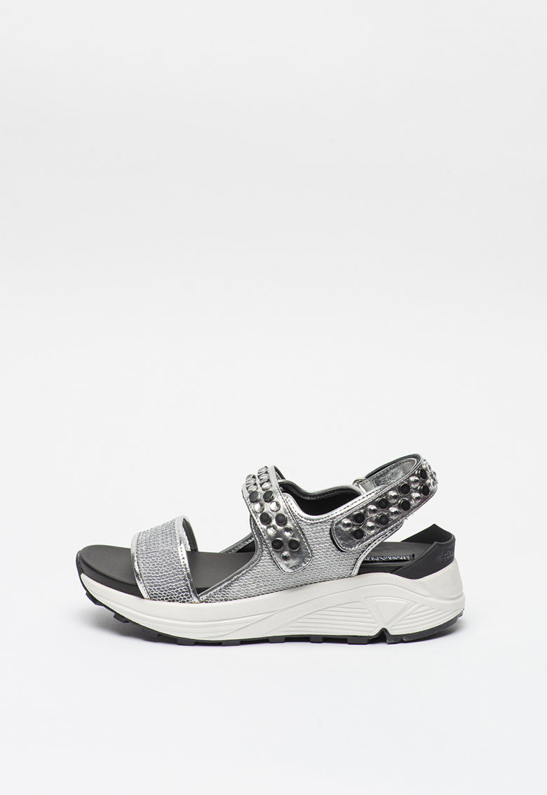 Sandale wedge cu aspect metalizat