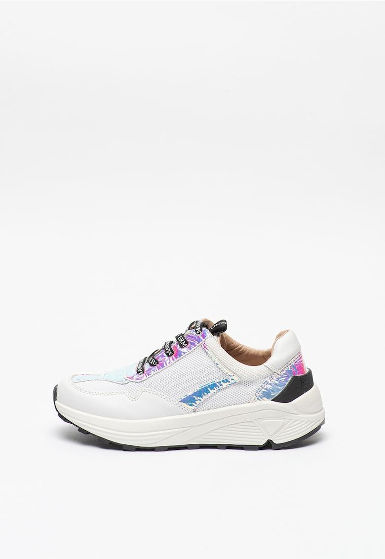 Pantofi sport de piele si plasa cu garnituri cu model holografic imagine