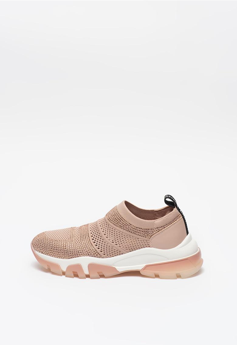 Pantofi sport slip-on de plasa tricotata cu strasuri imagine