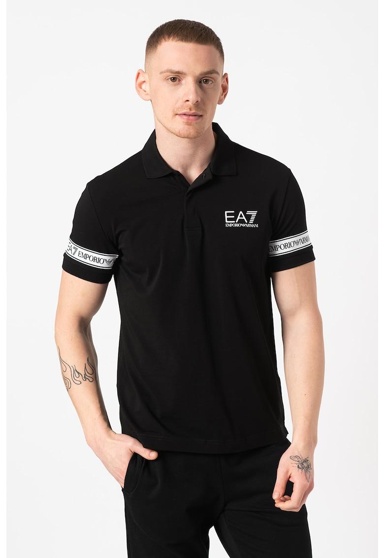 Tricou polo cu benzi logo Bărbați imagine