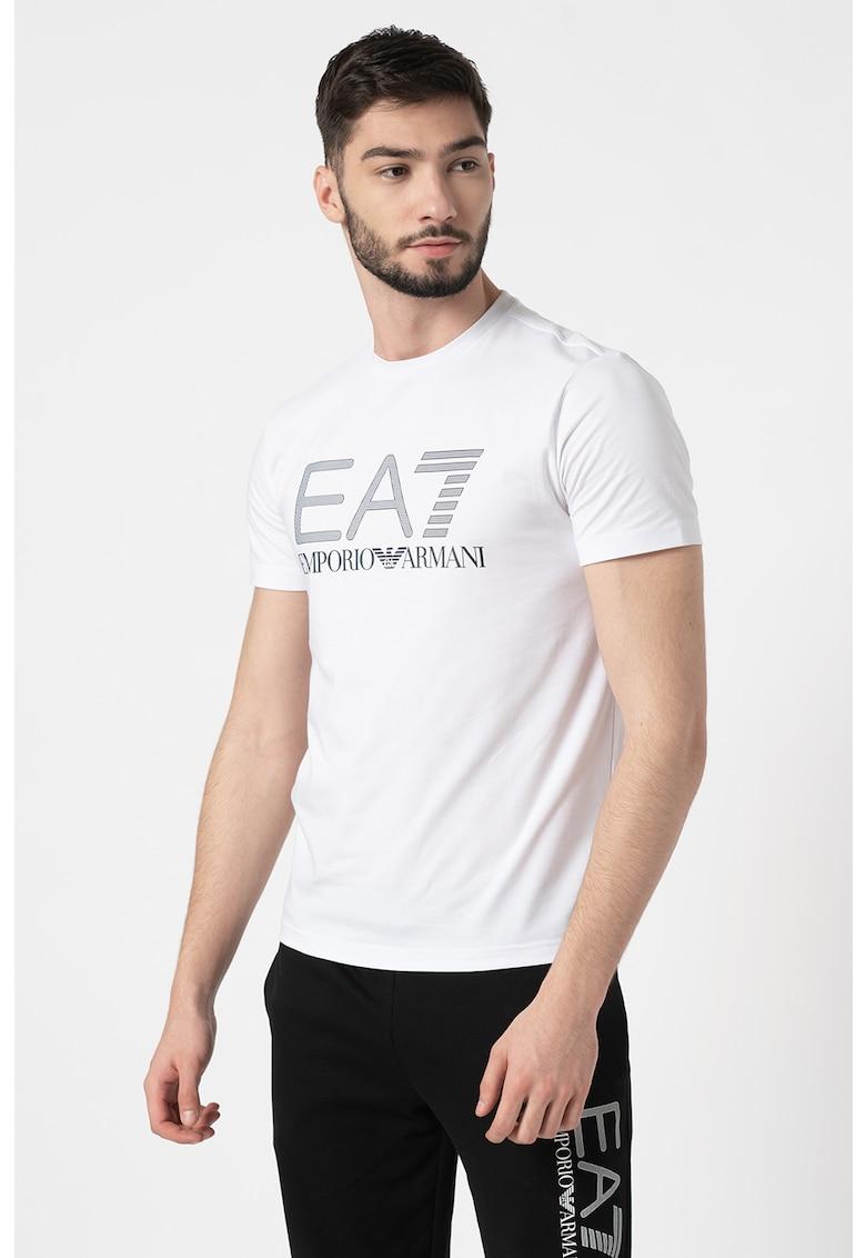 Tricou cu decolteu la baza gatului si imprimeu logo supradimensionat imagine