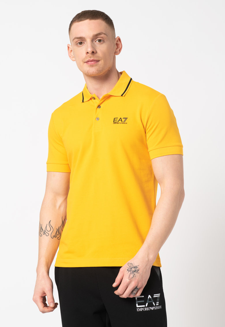 Tricou polo cu detaliu logo pe piept Bărbați imagine