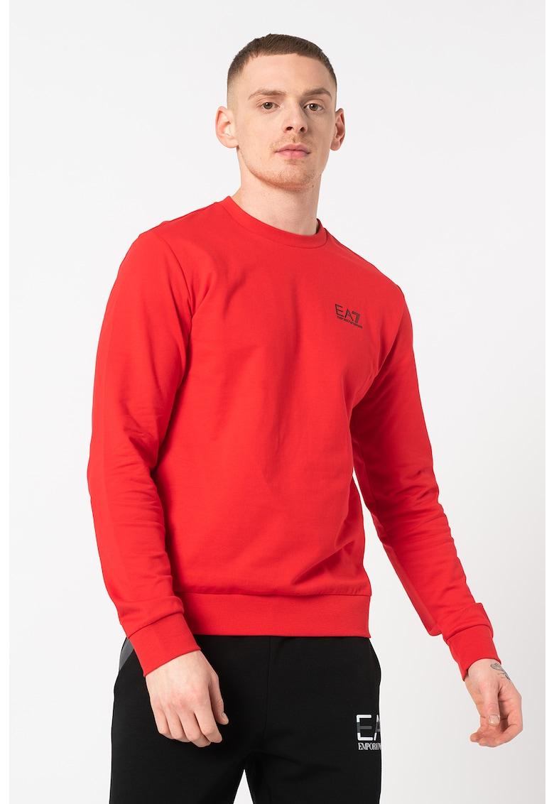 Bluza sport cu decolteu la baza gatului si logo de la EA7