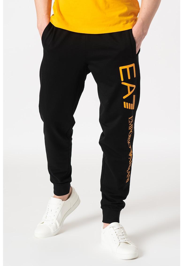 Pantaloni sport cu imprimeu logo supradimensionat