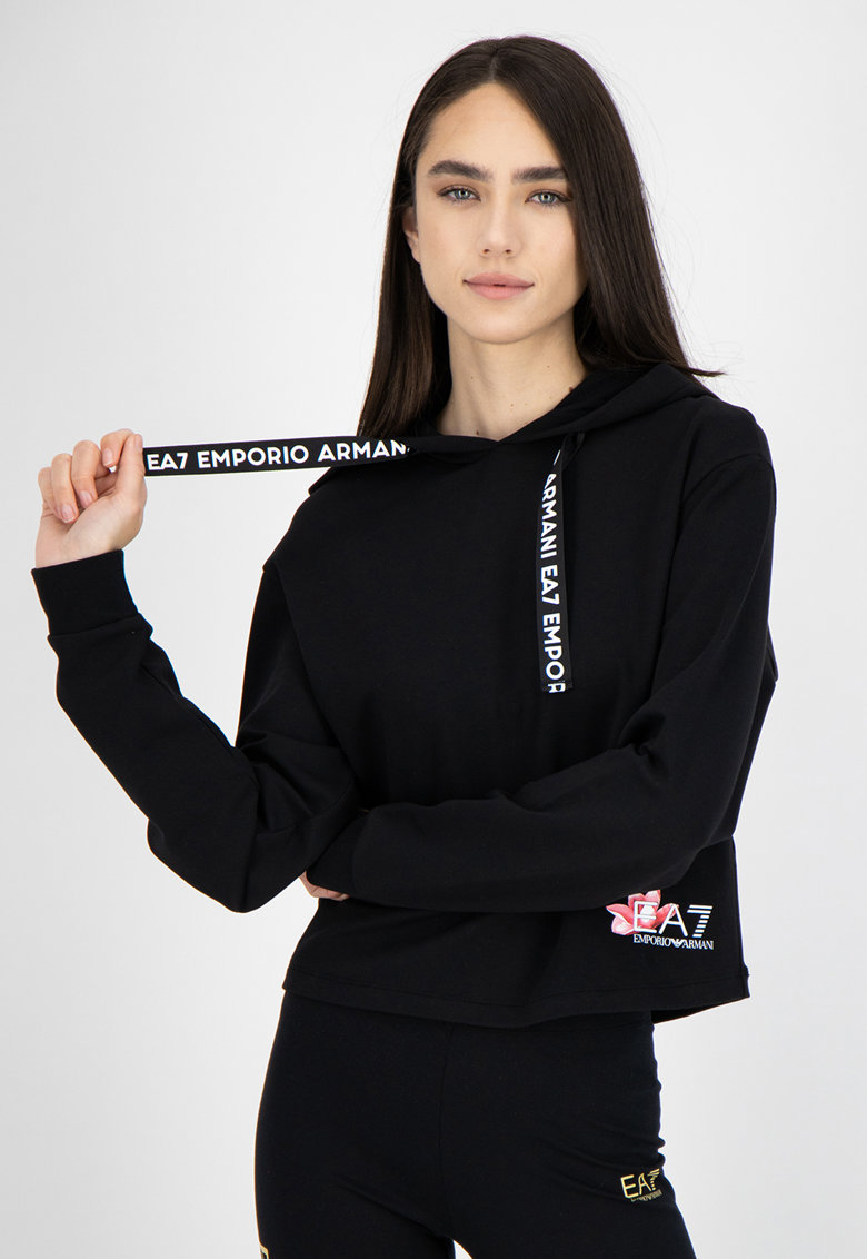 Hanorac din amestec de bumbac cu detaliu logo EA7 fashiondays.ro
