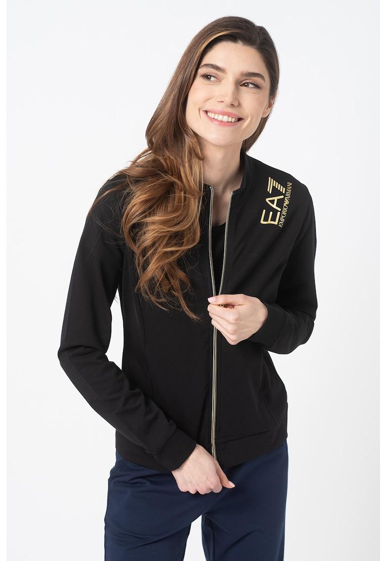 Bluza sport slim fit cu fermoar si imprimeu logo imagine