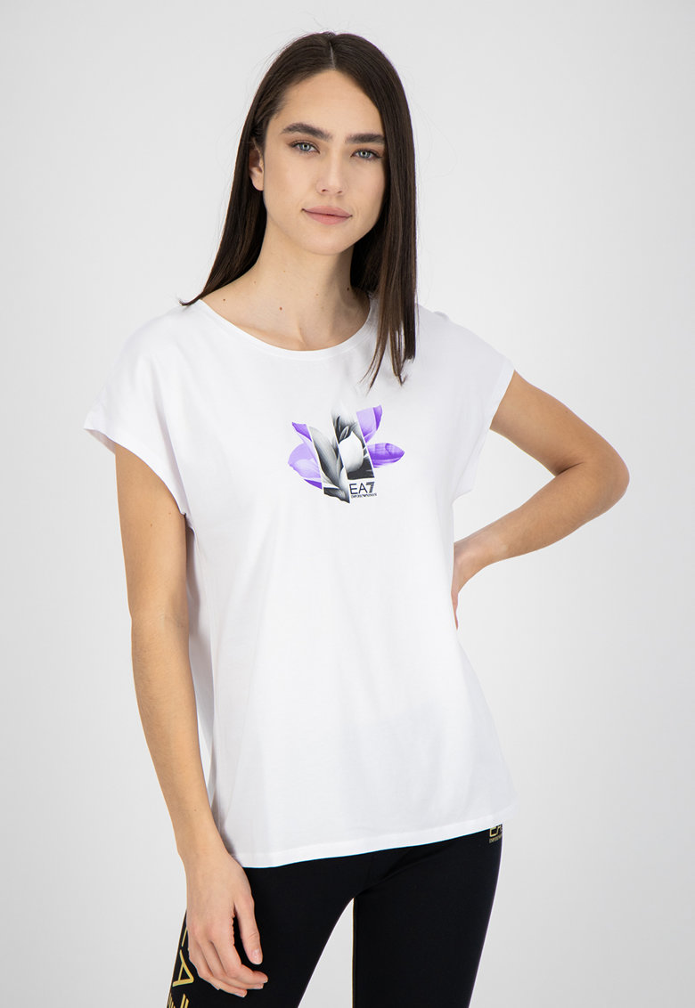 Tricou din amestec de modal cu imprimeu grafic si logo imagine