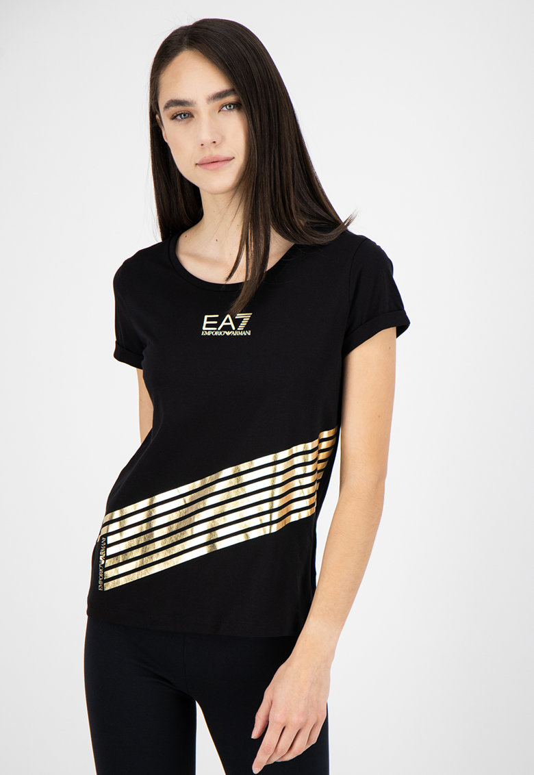 Tricou cu decolteu la baza gatului si imprimeu cu aspect metalizat imagine