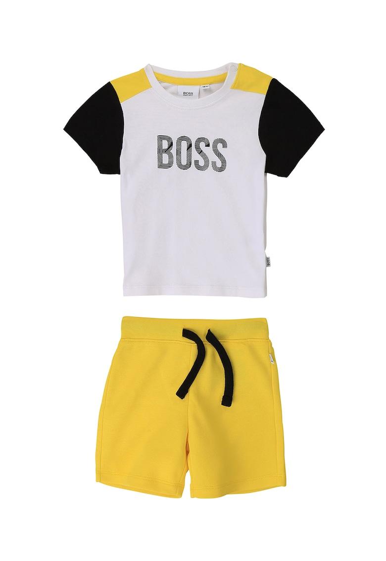 Set de tricou cu model colorblock si pantaloni scurti