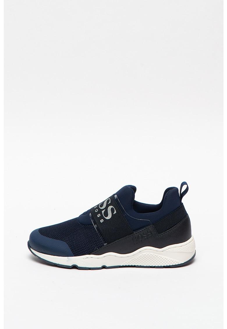 Pantofi sport slip-on din piele si material textil