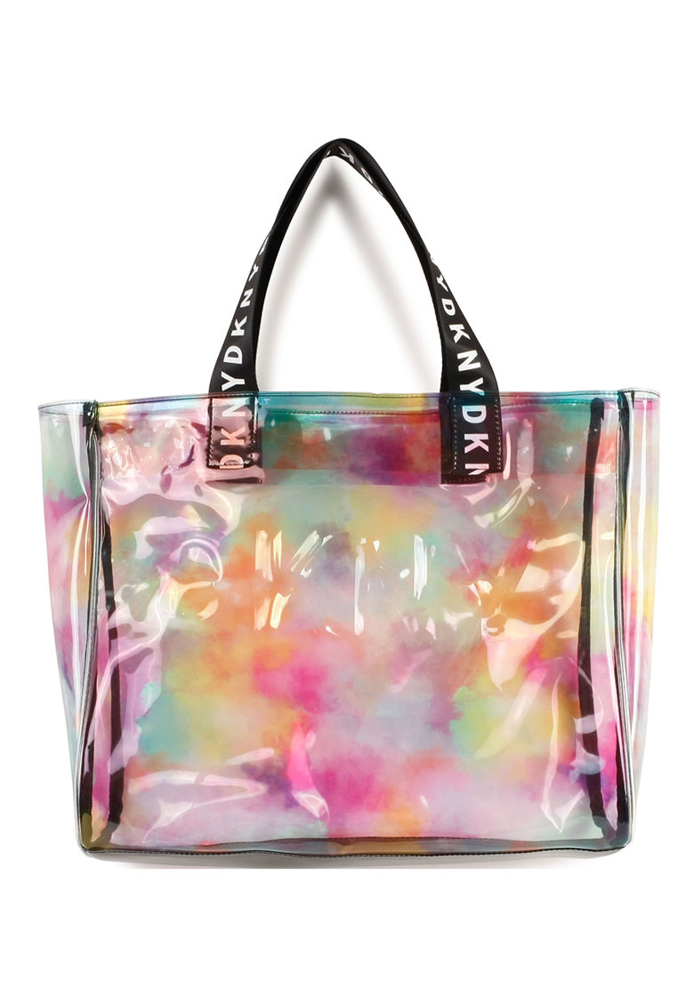 Geanta shopper transparenta cu model tie-dye imagine promotie