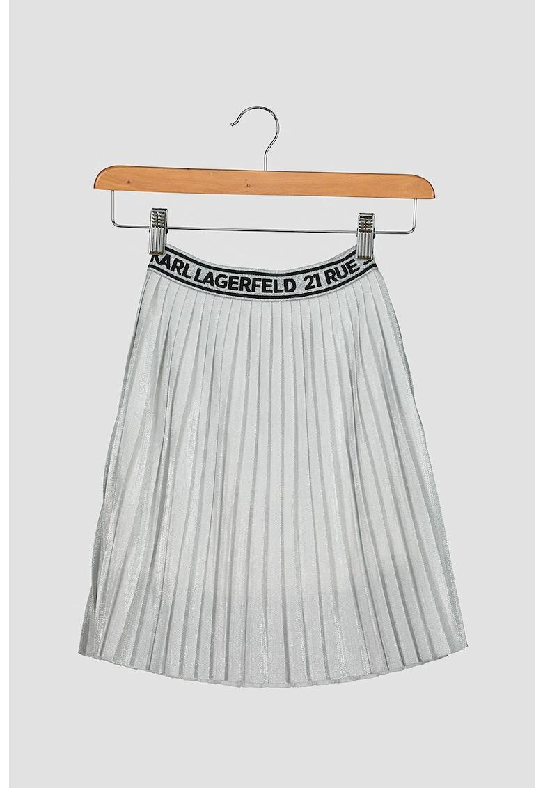 Fusta midi plisata cu aspect metalizat poza fashiondays