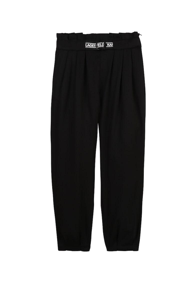 Pantaloni de lyocell cu detalii plisate poza fashiondays