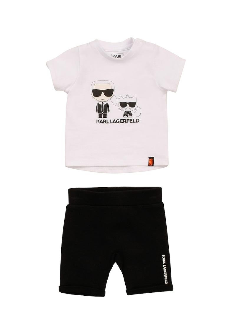 Set de pantaloni scurti si tricou cu imprimeu logo - 2 piese imagine fashiondays.ro 2021