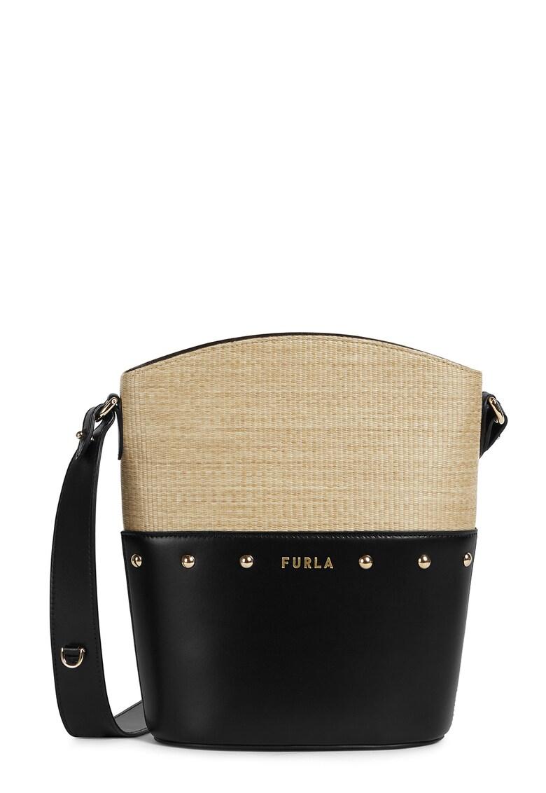 Geanta bucket mica de piele - cu insertie de rafie Share imagine fashiondays.ro Furla