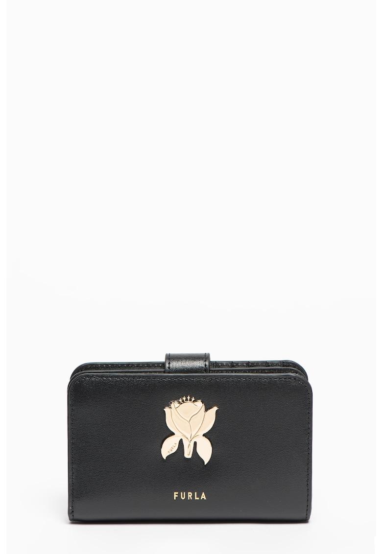 Portofel de piele cu aplicatie florala Tuberosa imagine