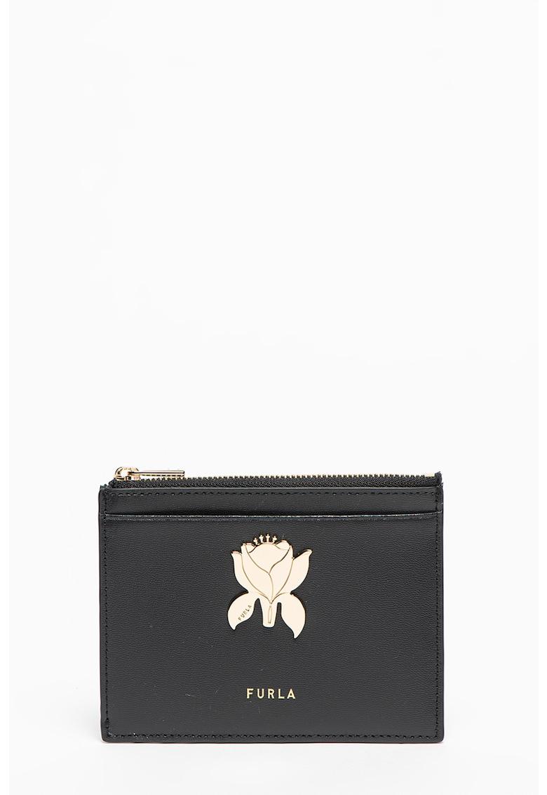 Portcart de piele cu aplicatie florala Tuberosa imagine fashiondays.ro Furla