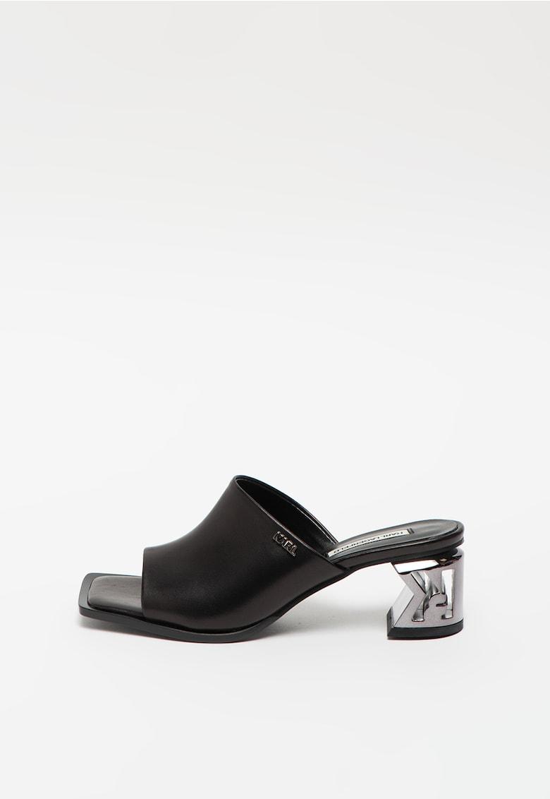 Sandale din piele cu toc masiv K-Block imagine