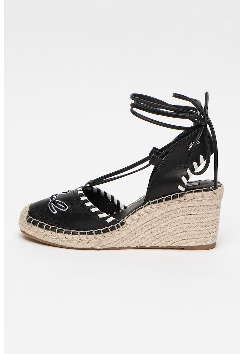 Sandale wedge tip espadrile de piele Kamini