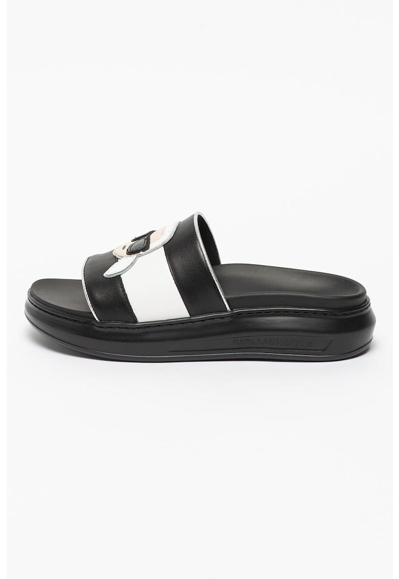 Papuci de piele cu aplicatie logo Kapri imagine fashiondays.ro 2021