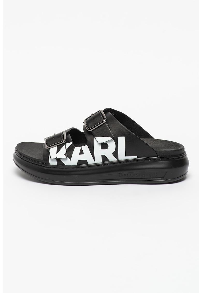 Papuci flatform de piele cu imprimeu logo Kapri imagine fashiondays.ro 2021