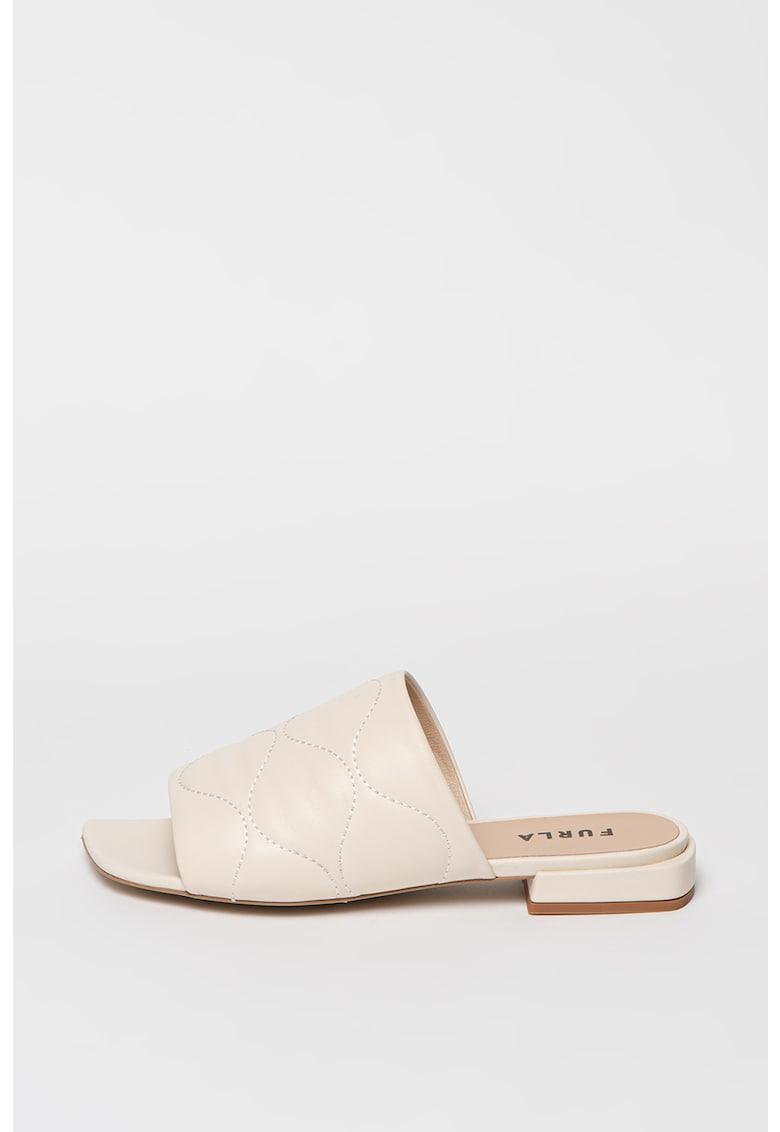 Papuci de piele cu aspect matlasat fashiondays.ro