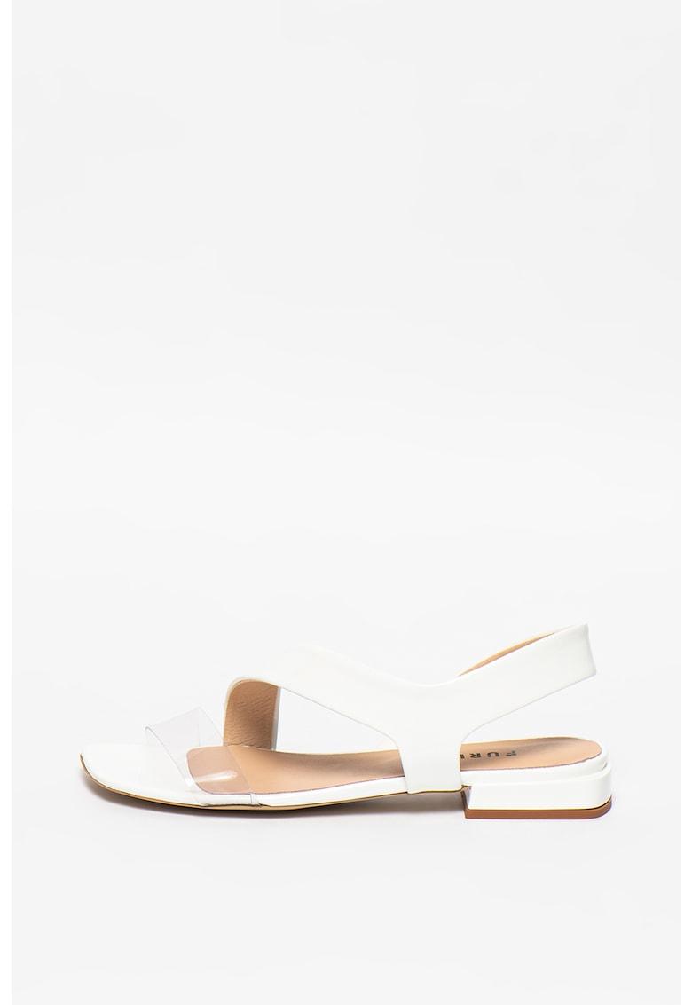 Sandale din piele cu bareta transparenta imagine