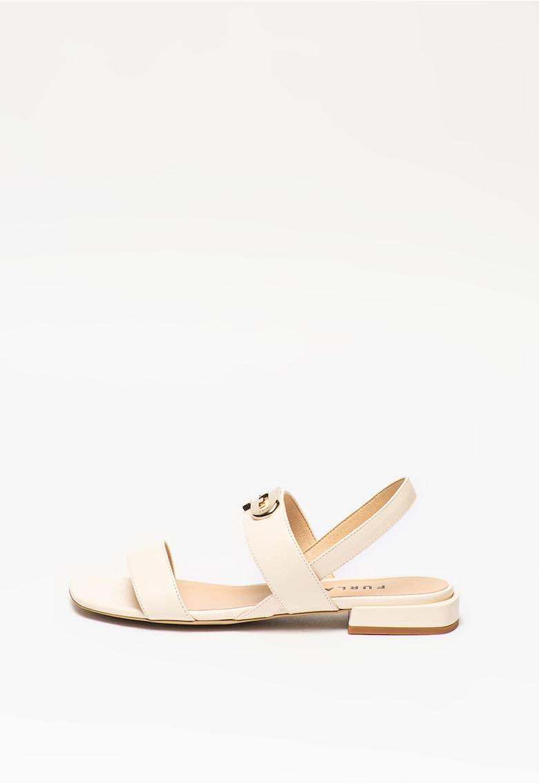 Sandale de piele cu logo metalic Chain imagine