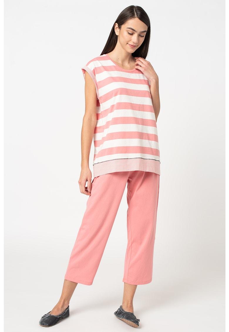ESPRIT Bodywear Pijama din bumbac organic in dungi cu croiala ampla Aleesha