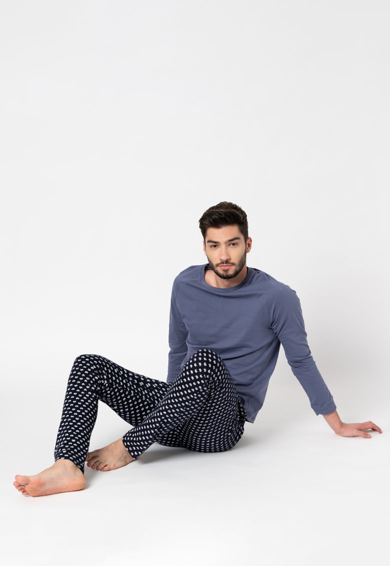 Bluza si pantaloni de pijama din bumbac Antao imagine fashiondays.ro 2021