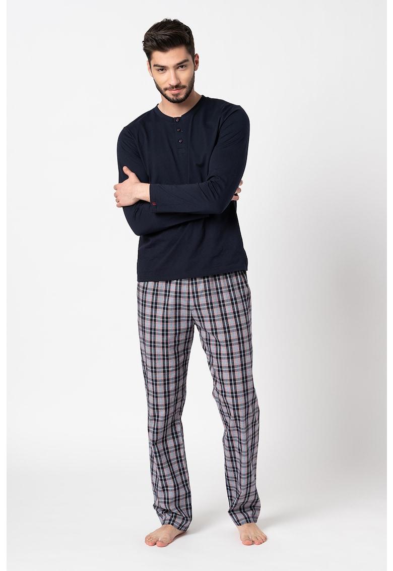 Bluza si pantaloni de pijama din bumbac Ashton imagine fashiondays.ro ESPRIT Bodywear