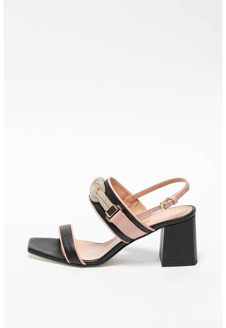 Sandale slingback de piele cu toc inalt