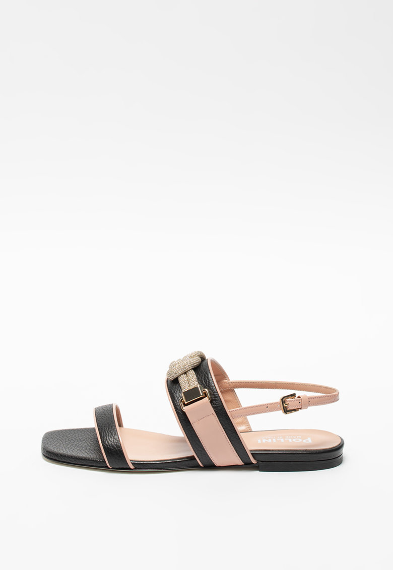 Sandale slingback de piele