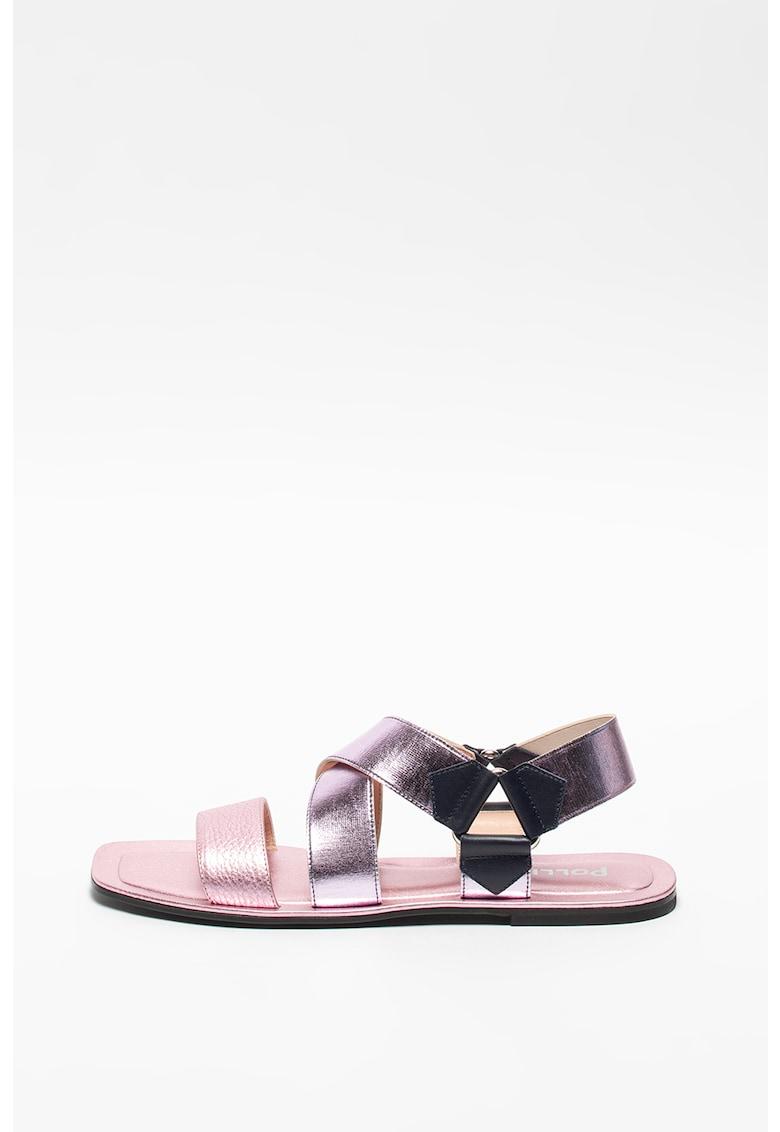Sandale slingback cu aspect metalizat