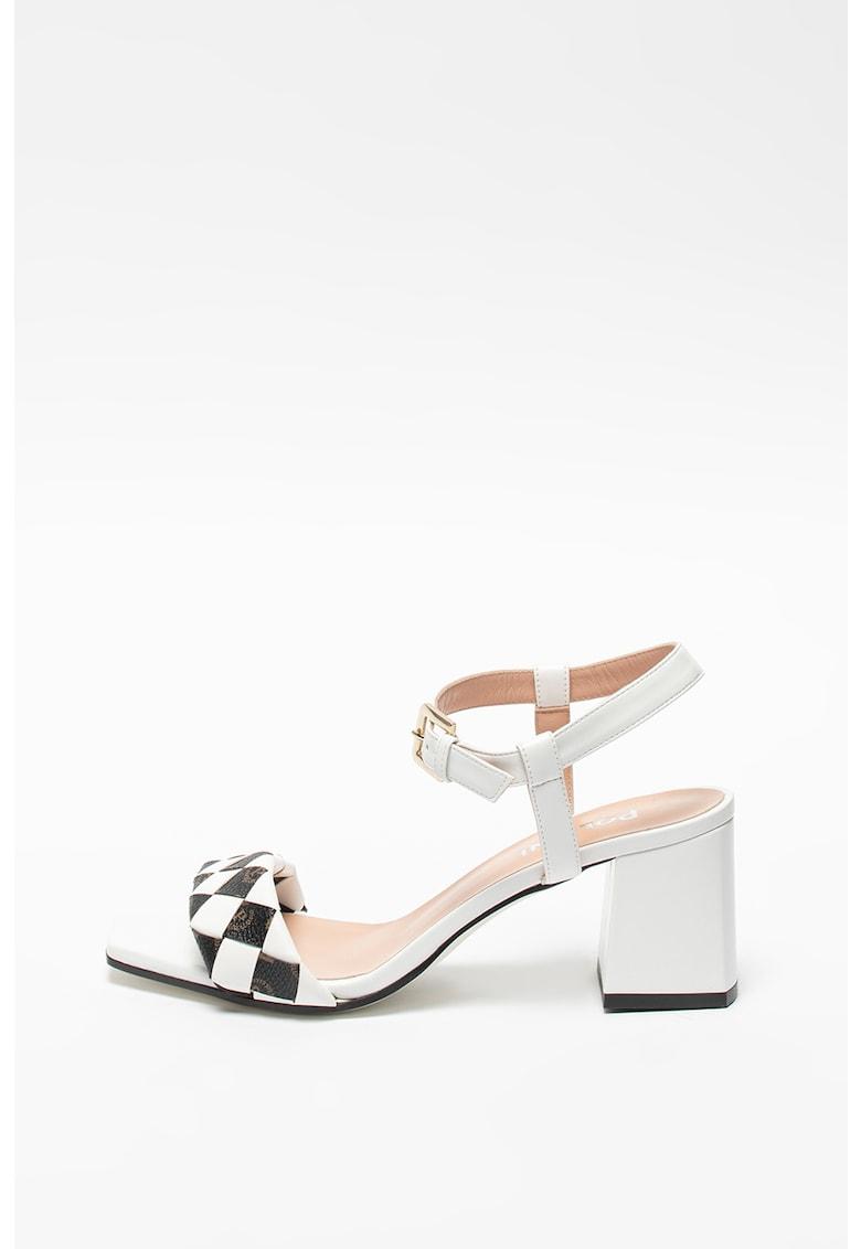 Sandale de piele ecologica cu toc inalt