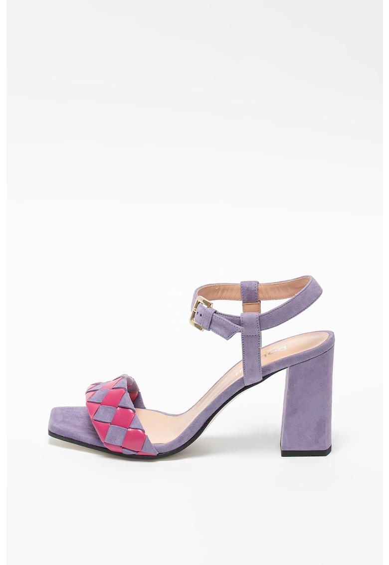 Sandale de piele si piele intoarsa cu toc inalt