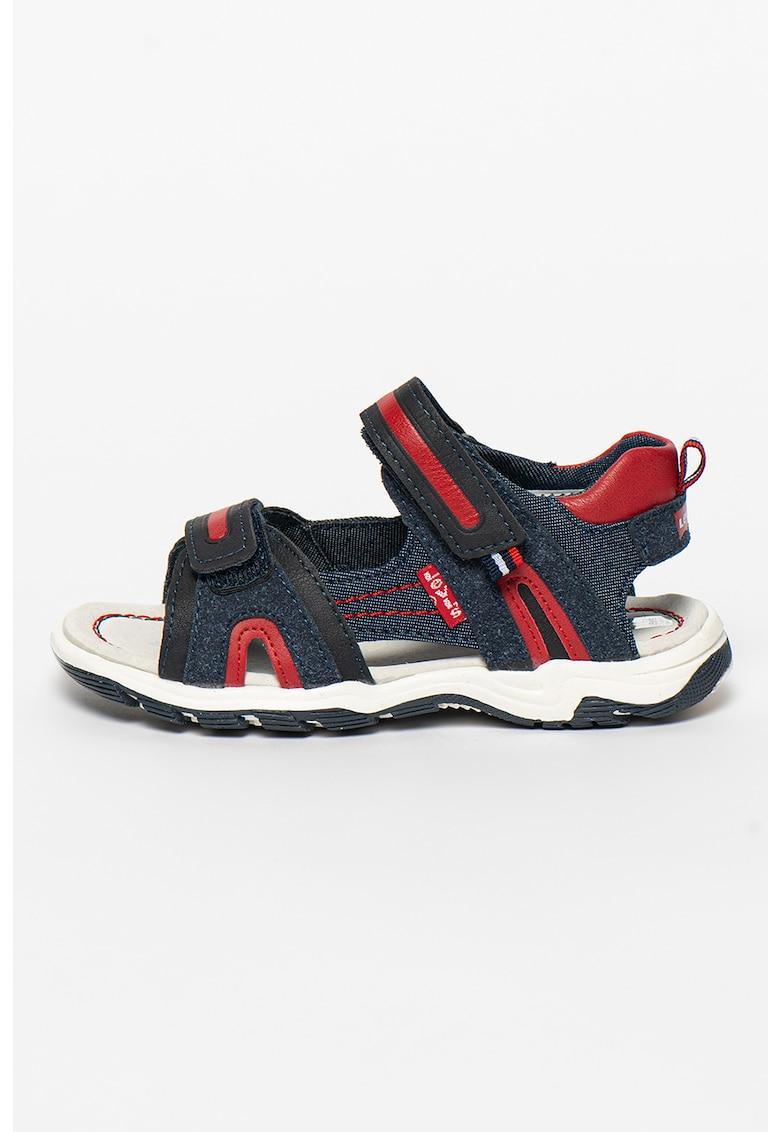 Sandale cu inchidere velcro si garnituri din denim Davenport