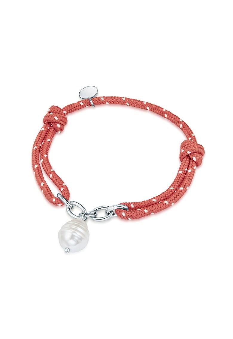 Bratara textila cu perle de apa dulce fashiondays.ro