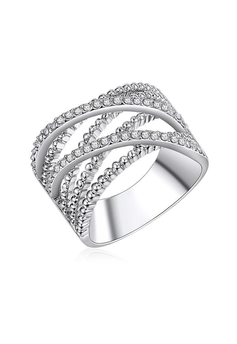 Inel placat cu argint si decorat cu cristale