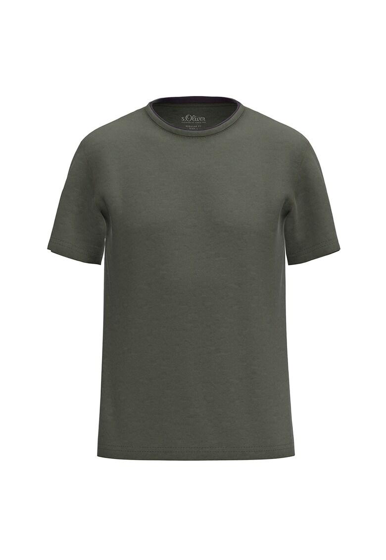 Tricou din amestec de bumbac cu decolteu la baza gatului Bărbați imagine