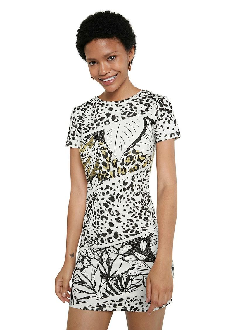 Rochie mini tip tricou cu animal print