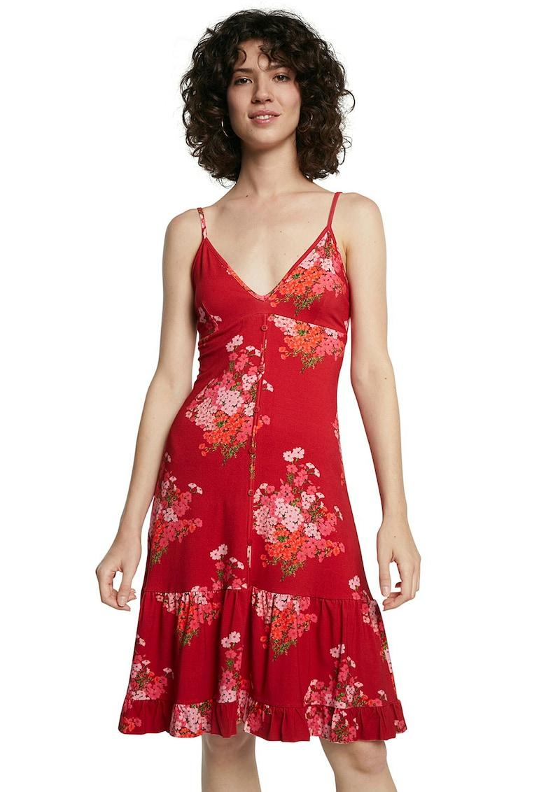 Rochie cu decolteu in V si imprimeu floral