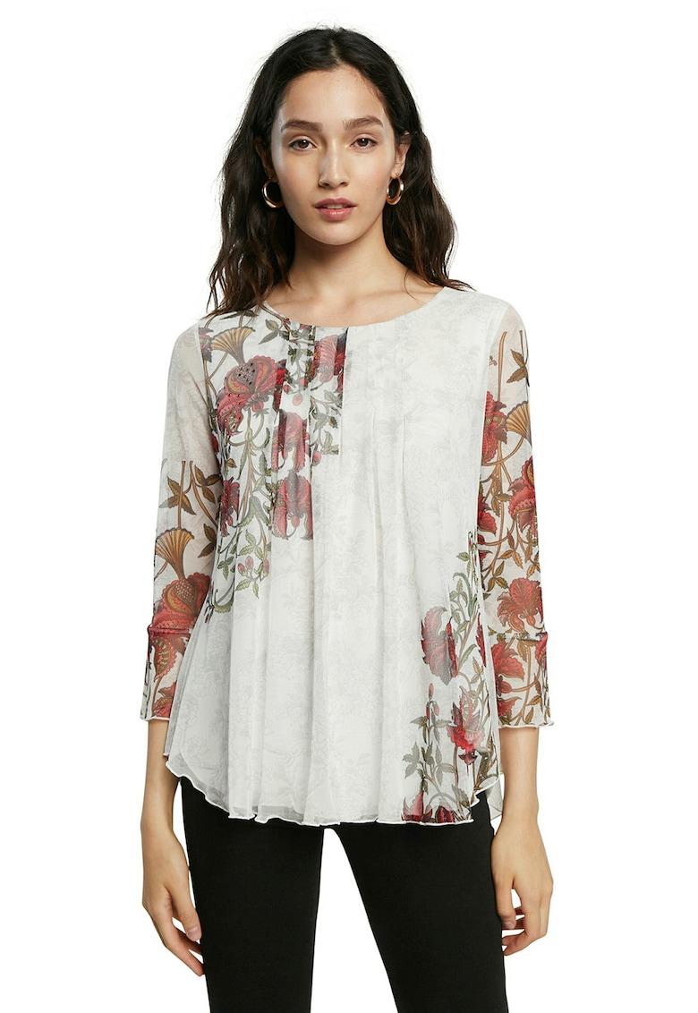 Bluza vaporoasa cu detalii cu model floral DESIGUAL fashiondays.ro