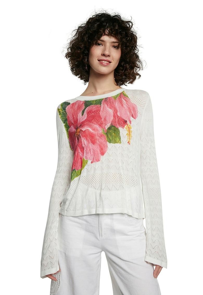 Bluza tricotata fin cu model pointelle si motive florale