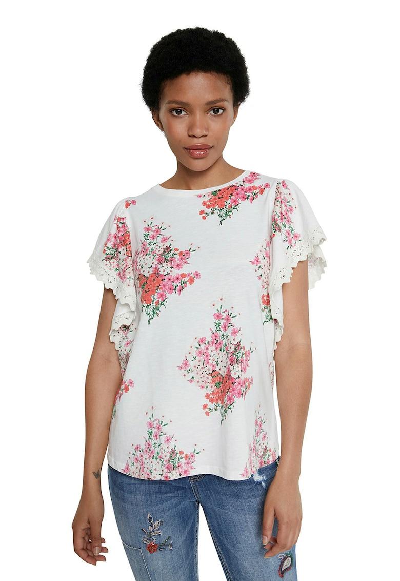 DESIGUAL Tricou cu imprimeu floral si maneci ample