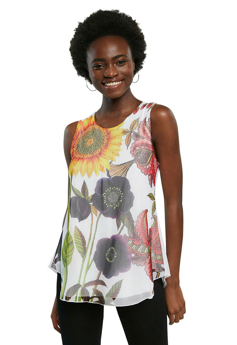 Top cu model floral si strat exterior vaporos imagine fashiondays.ro DESIGUAL