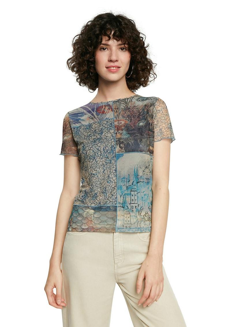 Tricou din plasa cu imprimeuri variate