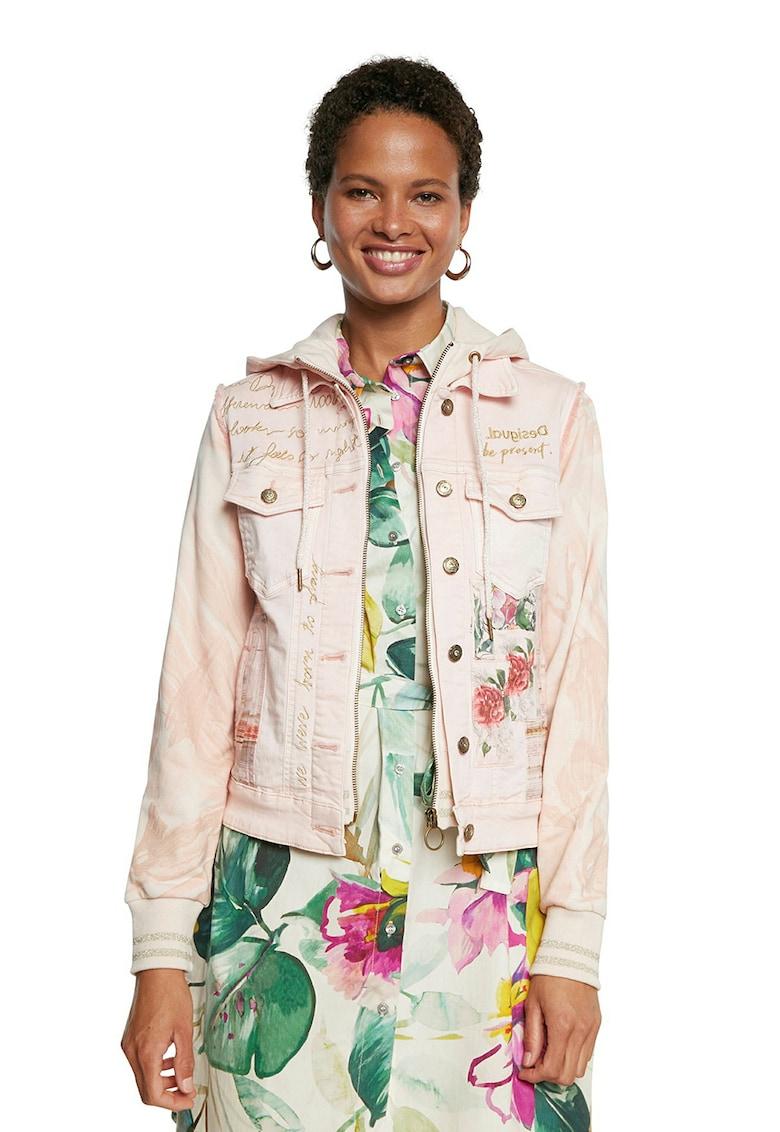 Jacheta din denim cu gluga