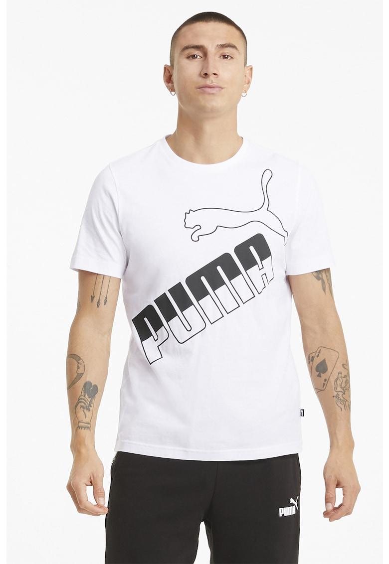 Tricou cu decolteu la baza gatului si imprimeu logo supradimensionat Bărbați imagine